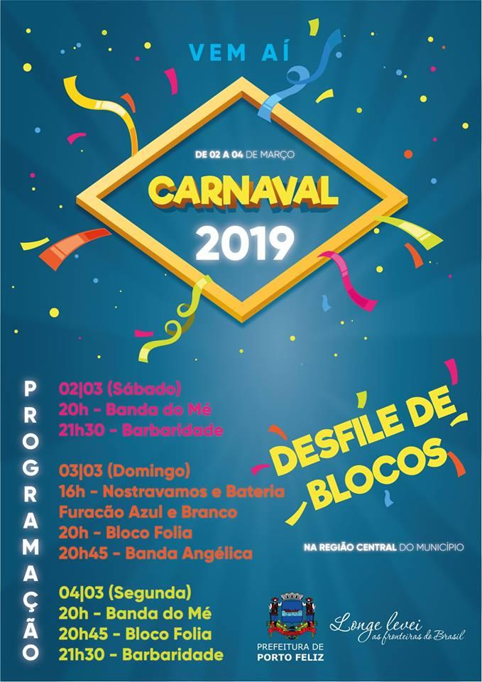 Prefeitura divulga programação de Carnaval em Porto Feliz