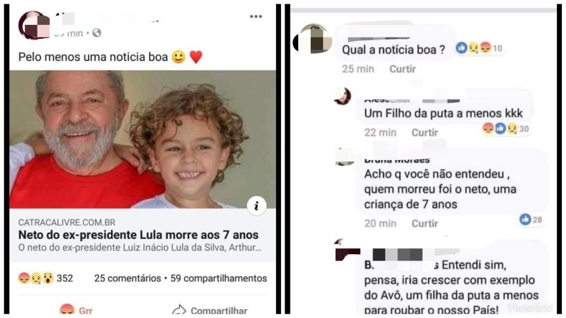 """""""Blogueira"""" comemora a morte do netinho de Lula"""