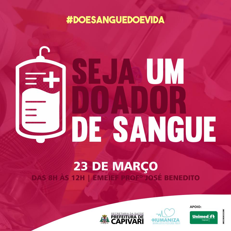 Campanha de Doação de Sangue acontece no dia 23 de março em Capivari
