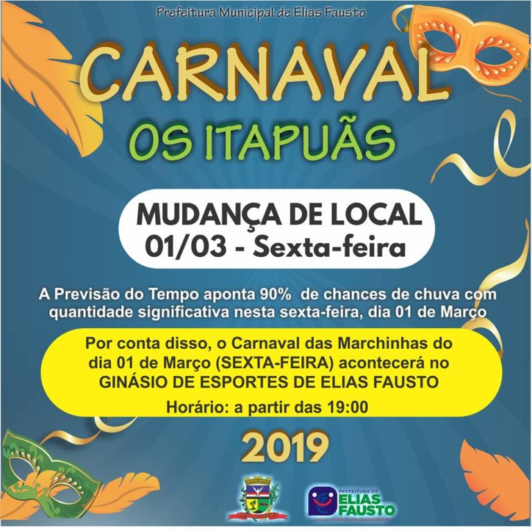 Prefeitura altera local do Carnaval