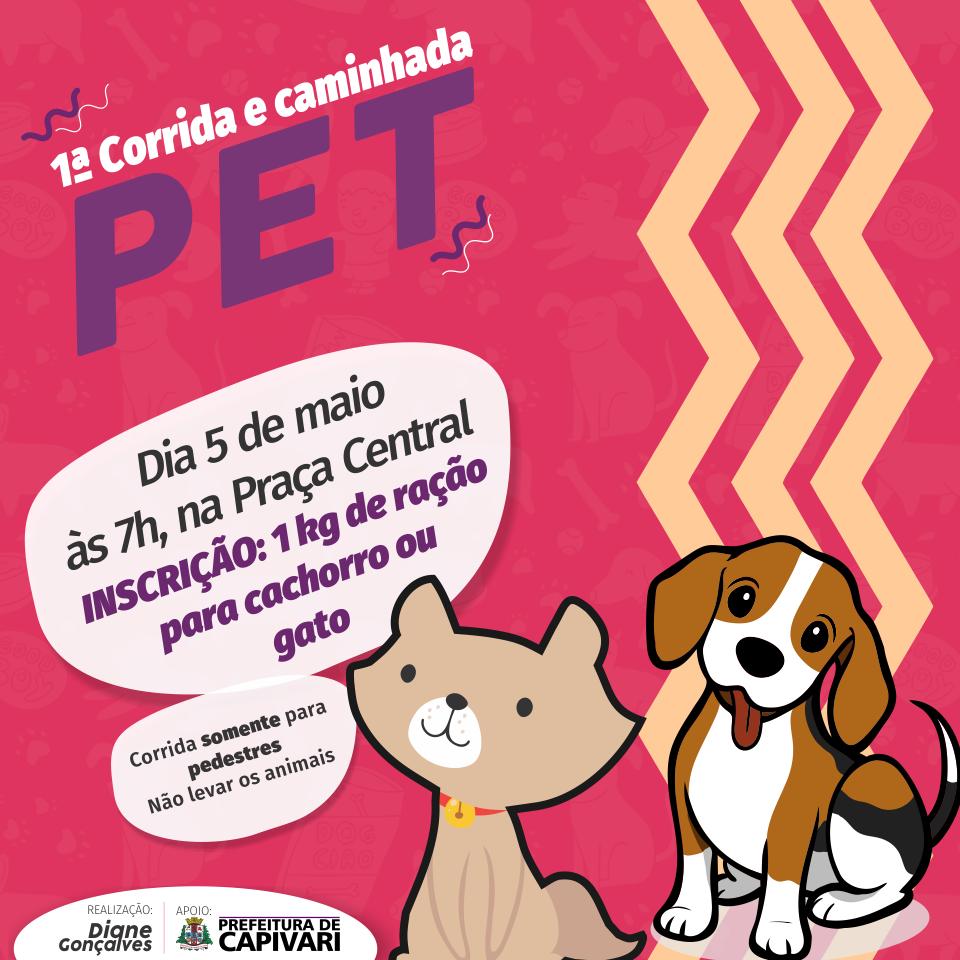 Primeira Corrida e Caminhada Pet acontecem no dia 5 de maio em Capivari