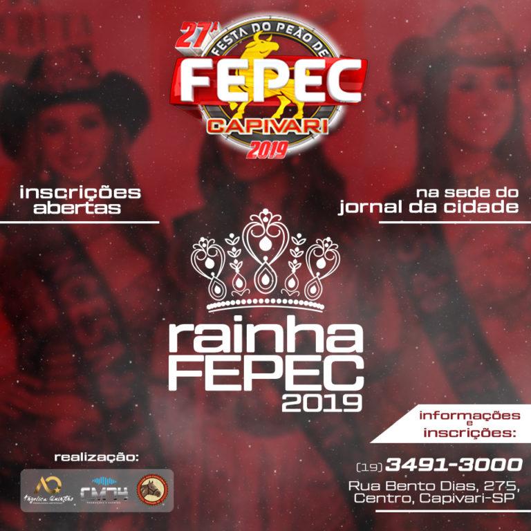 Aberto concurso Rainha da FEPEC 2019; inscrições na sede do Jornal da Cidade