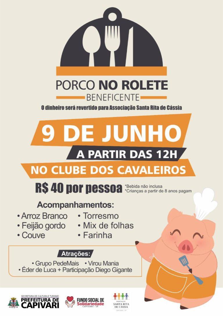 """Evento beneficente """"Porco no Rolete"""" acontece no dia 09 de junho"""