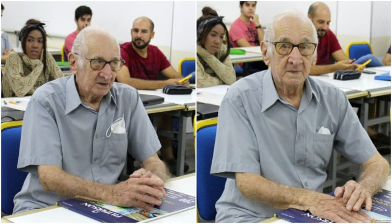 Aos 90 anos, avô realiza sonho de entrar na faculdade de Arquitetura