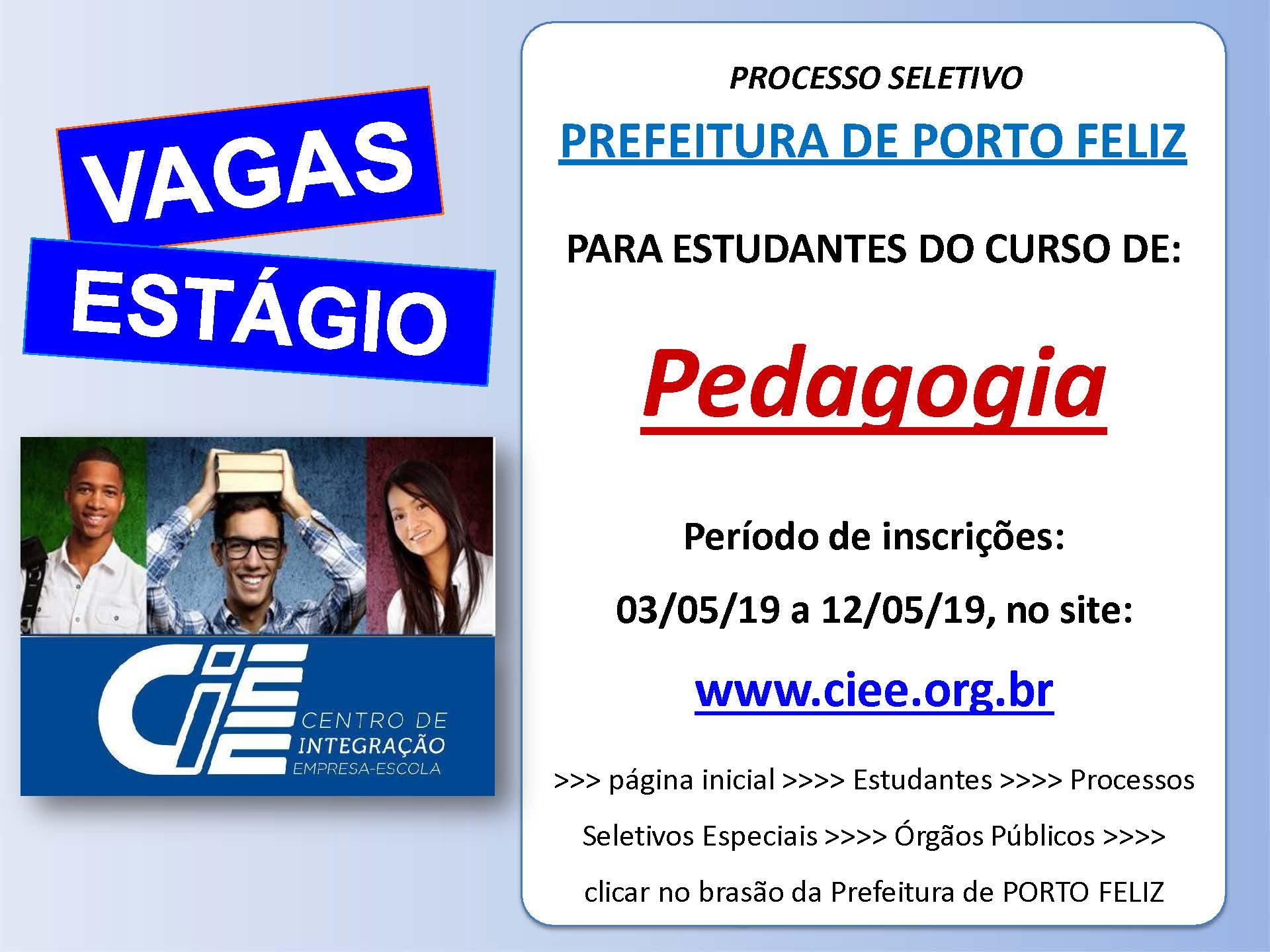 Porto Feliz abre vagas de emprego para estudantes de pedagogia