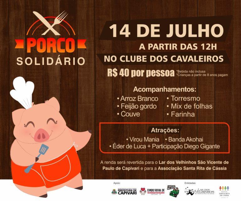 """""""Porco Solidário"""" acontece no dia 14 de julho, no Clube dos Cavaleiros, em Capivari"""
