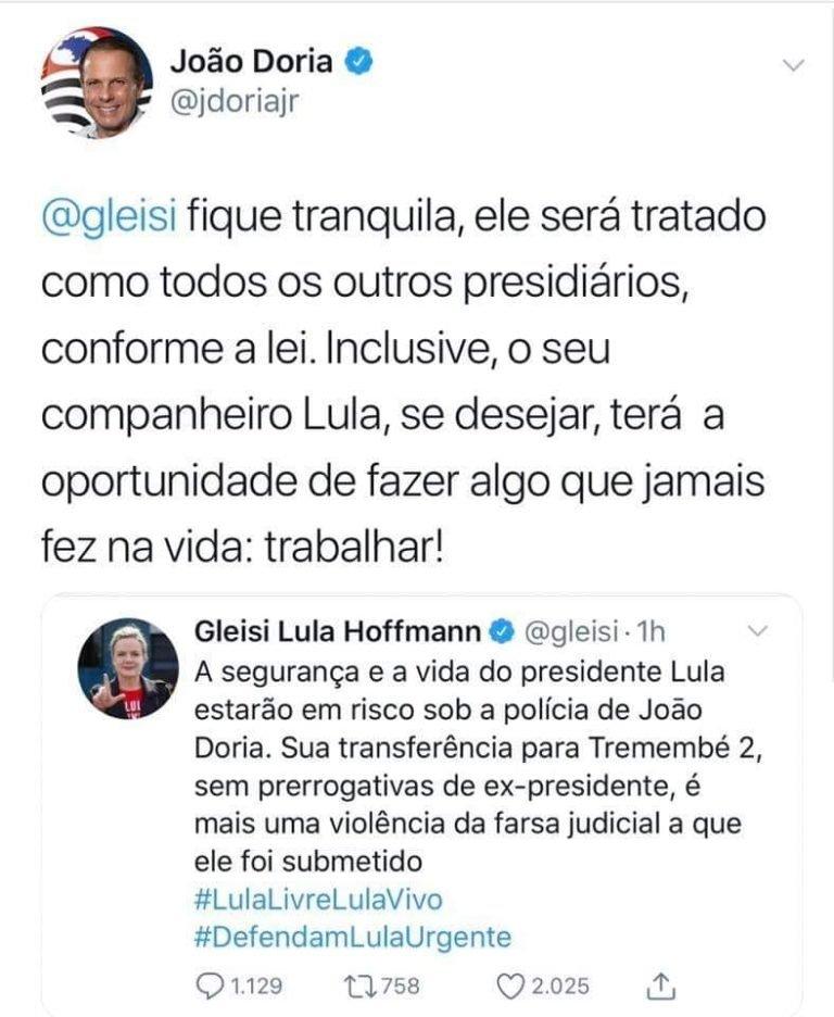 Governador do Estado de São Paulo rebateu Gleisi Hoffman